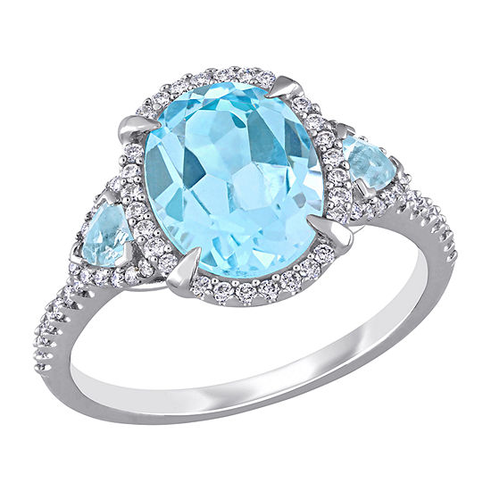 Womens 1/4 CT. T.W. Genuine Blue Topaz 14K White Gold Oval 3-Stone Cocktail Ring