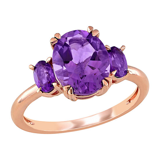 Womens Genuine Purple Amethyst 14K Rose Gold Oval 3-Stone Cocktail Ring