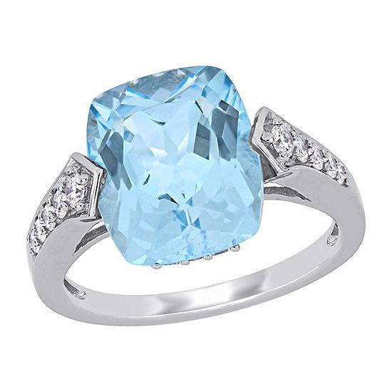 Womens 1/4 CT. T.W. Genuine Blue Topaz 14K White Gold Square 3-Stone Cocktail Ring