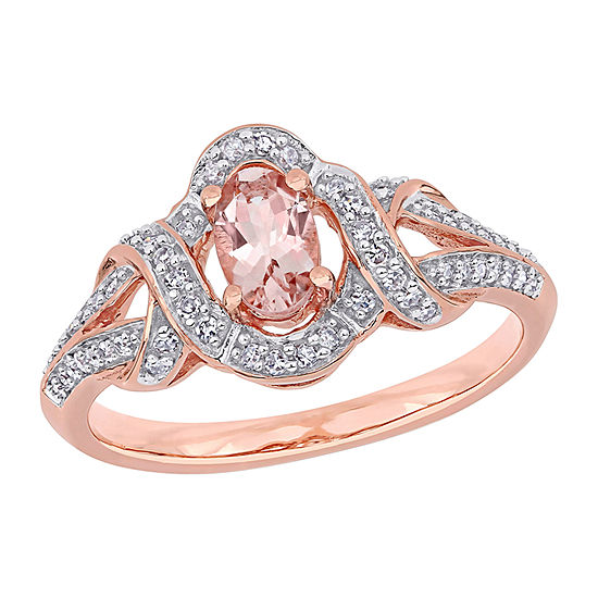 Womens 1/5 CT. T.W. Genuine Pink Morganite 10K Rose Gold Oval Engagement Ring