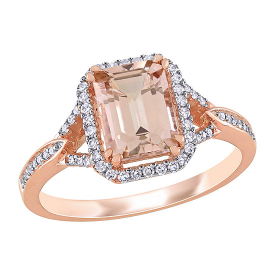 Womens 1/5 CT. T.W. Genuine Pink Morganite 14K Rose Gold Square Crossover Cocktail Ring