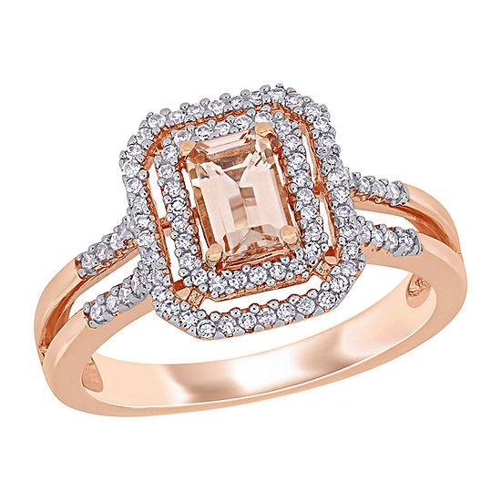 Womens 1/4 CT. T.W. Genuine Pink Morganite 10K Rose Gold Rectangular Halo Engagement Ring
