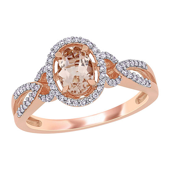 Womens 1/5 CT. T.W. Genuine Pink Morganite 14K Rose Gold Oval Halo Engagement Ring
