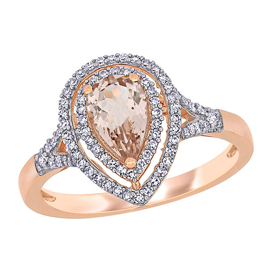Womens 1/4 CT. T.W. Genuine Pink Morganite 14K Rose Gold Pear Halo Engagement Ring