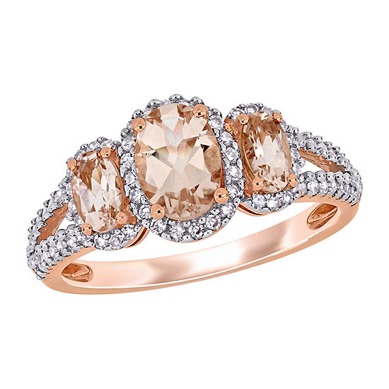 Womens 1/3 CT. T.W. Genuine Pink Morganite 14K Rose Gold Oval 3-Stone Engagement Ring