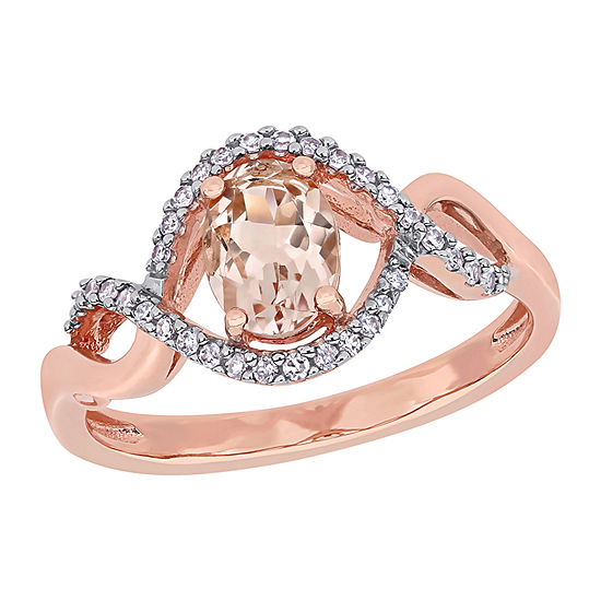 Womens 1/6 CT. T.W. Genuine Pink Morganite 10K Rose Gold Oval Crossover Cocktail Ring