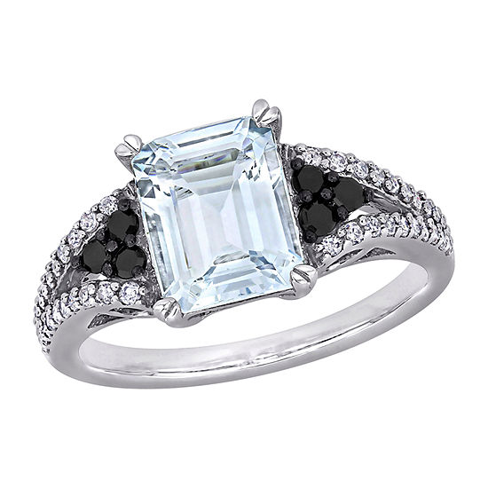 Womens 3/8 CT. T.W. Genuine Blue Aquamarine Sterling Silver Square Cocktail Ring