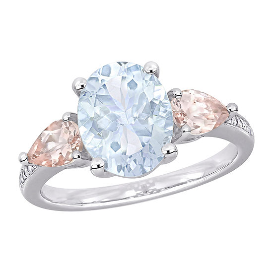 Womens Diamond Accent Genuine Blue Aquamarine Sterling Silver Oval 3-Stone Cocktail Ring