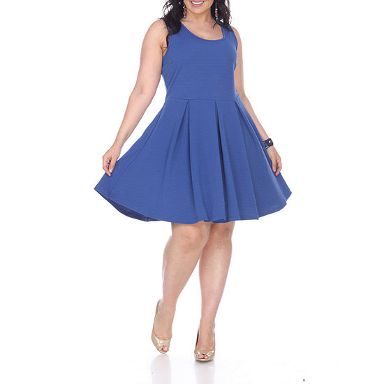 White Mark Crystal Fit & Flare Pleated Dress - Plus