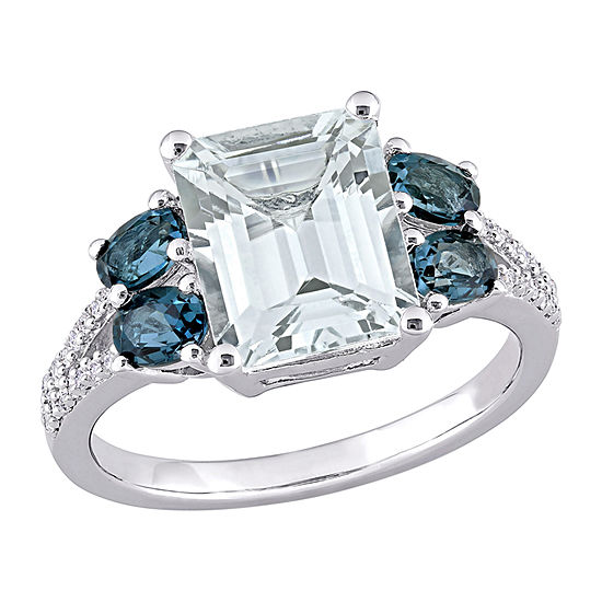 Womens 1/10 CT. T.W. Genuine Blue Aquamarine Sterling Silver Square Cocktail Ring