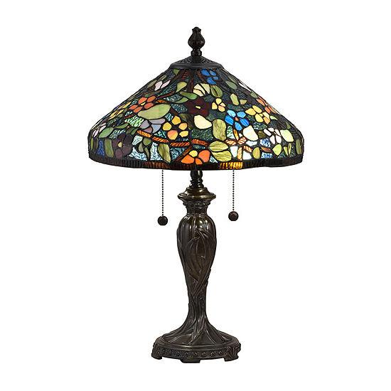 Dale Tiffany Dante Floral Glass Table Lamp