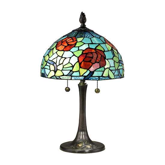 Dale Tiffany Norfolk Rose Glass Table Lamp