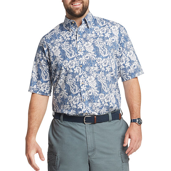 IZOD Big and Tall Mens Short Sleeve Cooling Moisture Wicking Button-Front Shirt