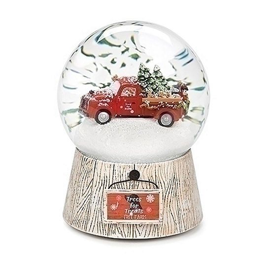 Roman Musical Red Truck With Dogs And Trees Dome SnowGlobes