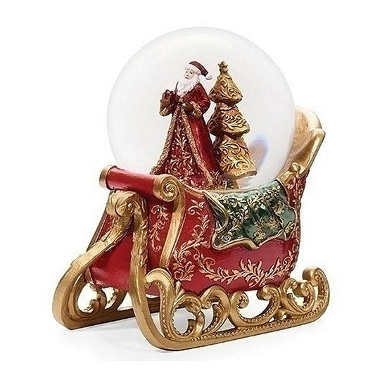 Roman Musical Sleigh With Santa And Tree Dome SnowGlobes