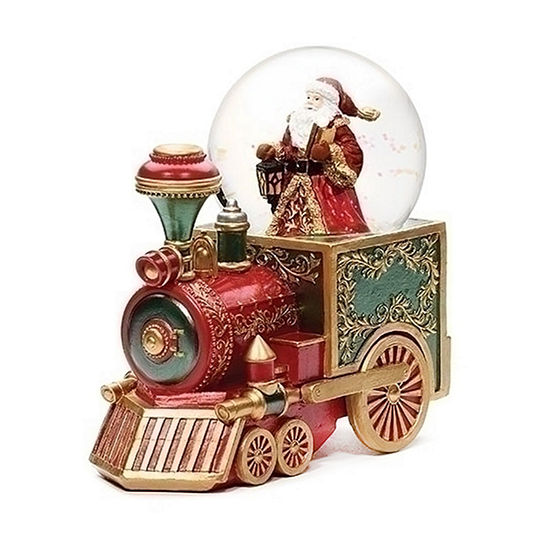 Roman Musical Red Train With Santa Dome SnowGlobes