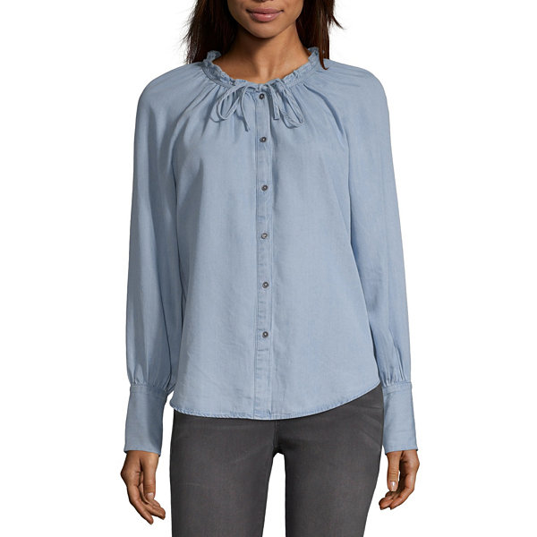 a.n.a Womens Round Neck Long Sleeve Chambray Blouse