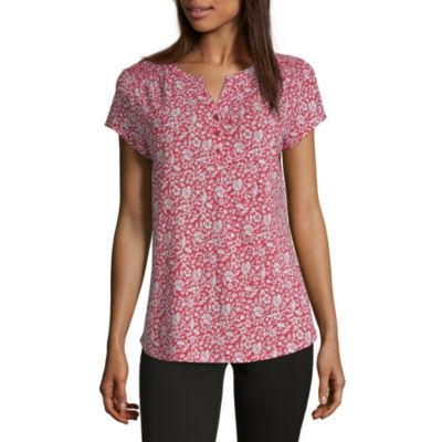 Liz Claiborne Womens Split Crew Neck Short Sleeve Henley Shirt