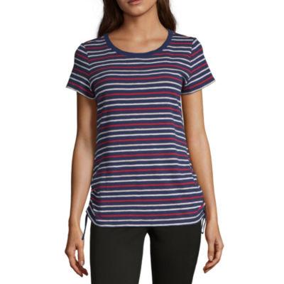 Liz Claiborne-Womens Crew Neck Short Sleeve T-Shirt