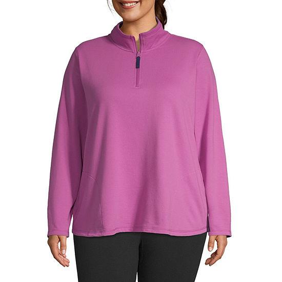 St. John's Bay Plus Womens Mock Neck Long Sleeve Quarter-Zip Pullover