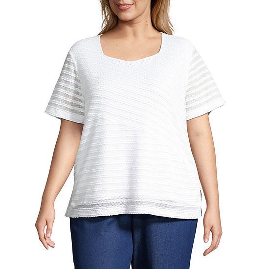 Alfred Dunner Plus Classics-Womens Sweetheart Neck Short Sleeve T-Shirt