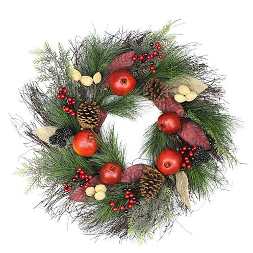 """24"""" Unlit Autumn Harvest Mixed Pine, Berry and Nut Thanksgiving Fall Wreath"""