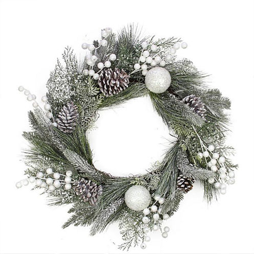 "24"" Unlit Frosted Artificial Mixed Pine and Pine Cone Wreath with White Berries and Balls"