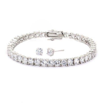 Sparkle Allure Cubic Zirconia Round Stone Silver Tennis Bracelet With Earrings
