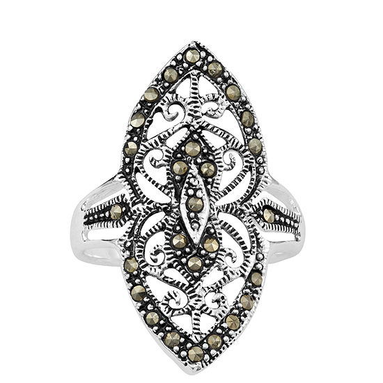 Sparkle Allure Marcasite Pure Silver Over Brass Cocktail Ring