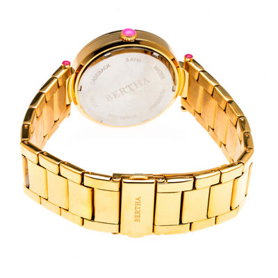 Bertha Womens Gold Tone Strap Watch-Bthbr6202