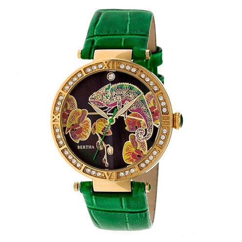 Bertha Womens Green Strap Watch-Bthbr6206