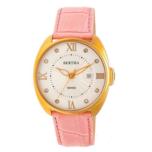 Bertha Womens Pink Strap Watch-Bthbr6305
