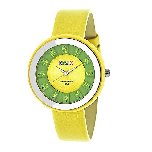 Crayo Unisex Yellow Strap Watch-Cracr3403