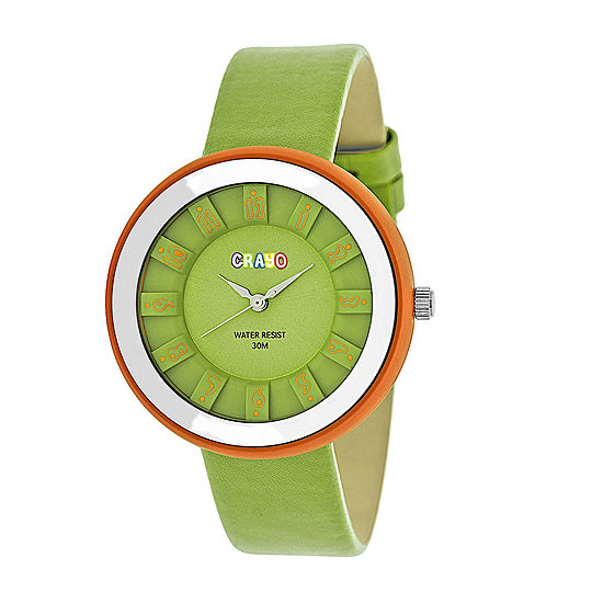 Crayo Unisex Green Leather Strap Watch-Cracr3404