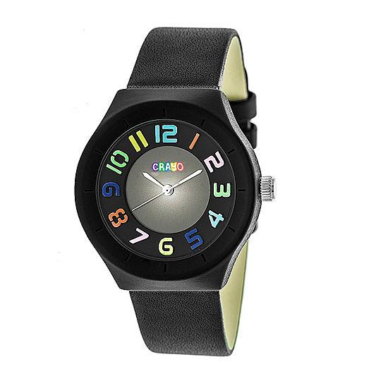 Crayo Womens Black Leather Strap Watch-Cracr3502