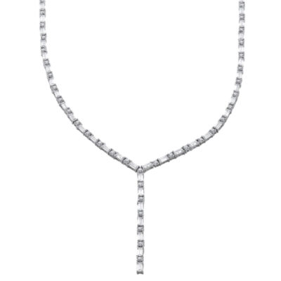 Cubic Zirconia Sterling Silver Y Necklace