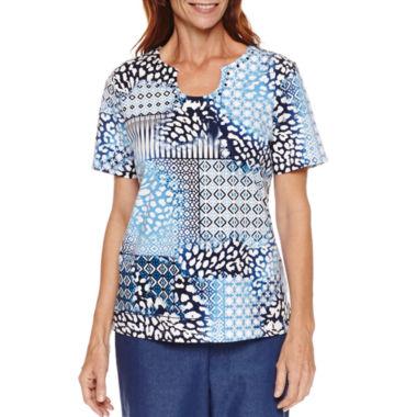 Image result for alfred dunner short sleeve novelty neck print top