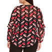 Bisou Bisou Long Sleeve Lace Up Lip Print Blouse-Plus