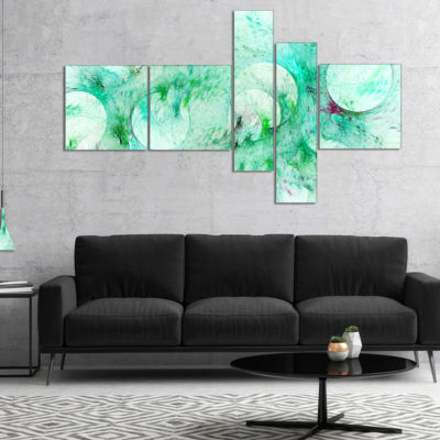 Designart Green Circles Fractal Texture MultipanelAbstract Canvas Art Print - 4 Panels