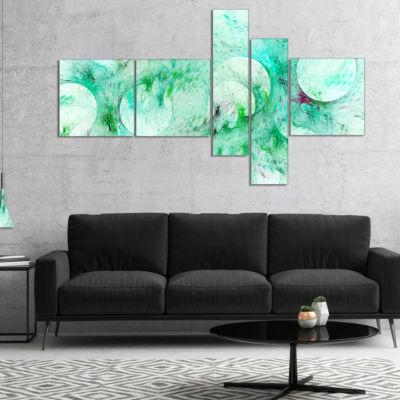 Designart Green Circles Fractal Texture MultipanelAbstract Canvas Art Print - 5 Panels