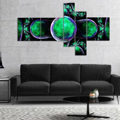 Designart Green Exotic Fractal Pattern MultipanelAbstract Art On Canvas - 4 Panels