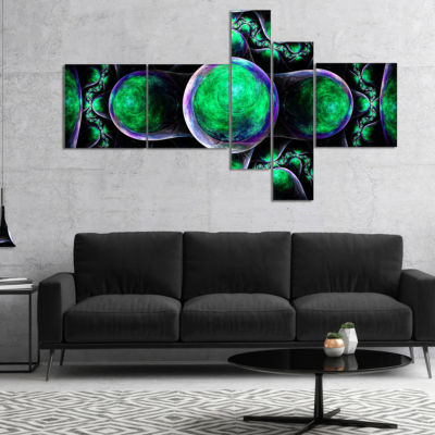 Designart Green Exotic Fractal Pattern MultipanelAbstract Art On Canvas - 5 Panels