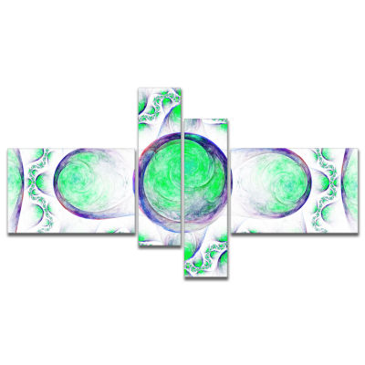 Designart Green Exotic Pattern On White MultipanelAbstract Art On Canvas - 4 Panels