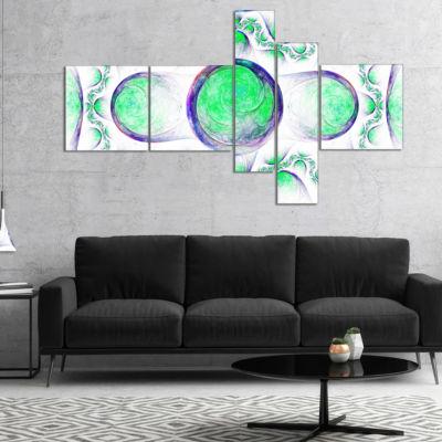 Designart Green Exotic Pattern On White MultipanelAbstract Art On Canvas - 5 Panels