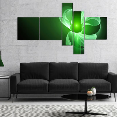 Designart Green Flower Fractal Illustration Multipanel Abstract Canvas Art Print - 5 Panels