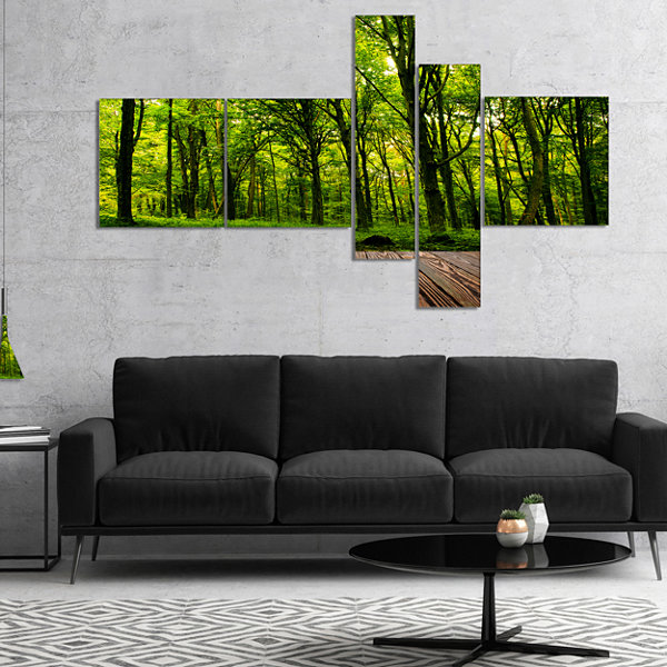 Designart Green Forest With Dense Woods MultipanelLandscape Canvas Art Print - 5 Panels