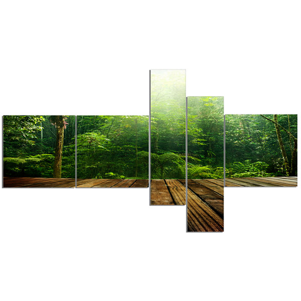Designart Green Forest With Ray Of Light Multipanel Landscape Photo Canvas Art Print - 5 Panels