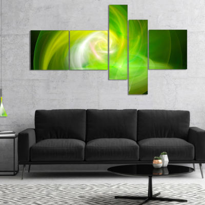 Designart Green Fractal Abstract Illustration Multipanel Abstract Canvas Wall Art - 4 Panels