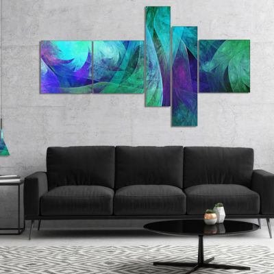 Designart Green Fractal Abstract Pattern Multipanel Abstract Art On Canvas - 4 Panels