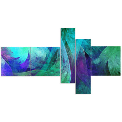 Designart Green Fractal Abstract Pattern Multipanel Abstract Art On Canvas - 5 Panels